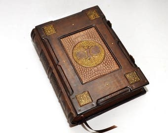 FREE SHIPPING Brown leather journal Celtic tree of life - Medieval style, Book of Shadows, Wiccan notebook, Book of spells, necronomicon