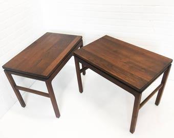 Pair of Mid Century W. H. Gunlocke Chair Co Solid Walnut Side Tables
