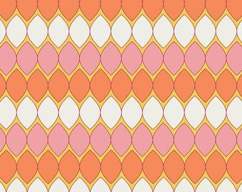 Dreamin' Vintage/Mod Pop/Coral or Purple Ovals/Jeni Baker/Art Gallery Fabrics/Cotton Sewing Material/Quilting, Clothing/Yardage, By The Yard