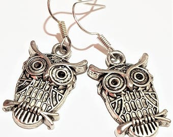 Silver owl charm earrings affordable jewelry