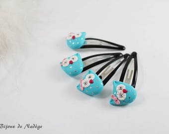 Hair clip kids OWL turquoise Click Clack