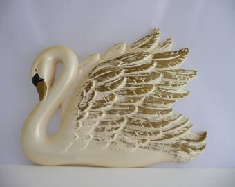 Chalkware Swan Gold and White, Chalk Ware, Wall Hanging, Elegant Swimming Swan, Chalk Ware