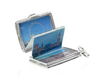 Sterling Silver Opening Souvenir Of London Photo Passport Charm For Bracelets