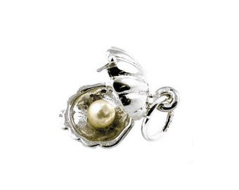 Sterling Silver Opening Pearl In Oyster Charm For Bracelets