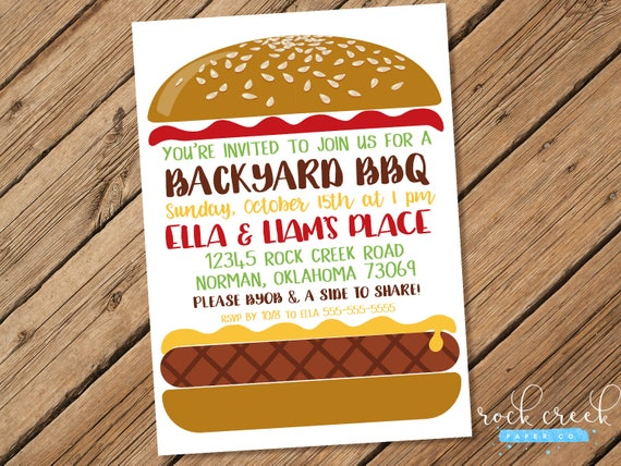 burger bbq invitation barbecue invitation bbq party barbecue