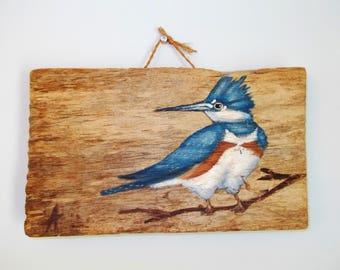 Painted Blue Jay on Rustic Wood Wall Hanging