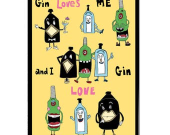 I Love Gin and Gin Loves Me #2 - A3 (42x30cm) Giclee Framed Print