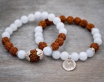 Meditation yoga bracelet set Women jade bracelet Rudraksha bracelet Fine silver bracelet Lotus leaf mala bracelet White jade wrist mala bead