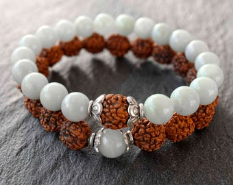Set 2 mala bracelet Sterling silver Rudraksha Amazonite bracelet Healing bracelet for women Meditation beads Yoga gift Boho stretch bracelet