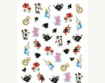 25% OFF SALE Alice in Wonderland Scrapbooking Stickers/ Nail Decals