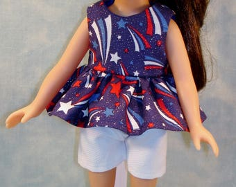 14 Inch Doll Clothes - 4th of July Fireworks Shorts Set handmade by Jane Ellen