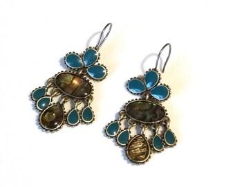 Vintage Gypsy Dangle Earrings Gold Tone Metal w Blue Enamel and Abalone Shell Fringe Dangles Bali Indian Belly Dancer Jewelry Pierced Ears