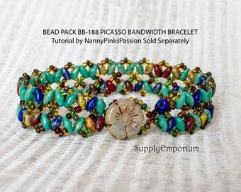 Bead Pack BB-188 Picasso Bandwidth Bracelet, Tutorial by NannyPinksPassion Sold Separately, BB188 Picasso Bandwidth Bead Pack