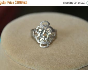 ON SALE Sterling Silver Scroll Work Ring Size 6.75,hand sculpted by silver artisan,cut out design Birthday gift, Mother's Day gift, Christma
