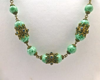 Art Deco Bohemian Peking Glass Necklace
