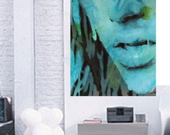 BLUE JEAN GIRL Watercolor Digital Media Limited Edition Print Large Wall Hanging Original Art Painting Abstract Modern Girl