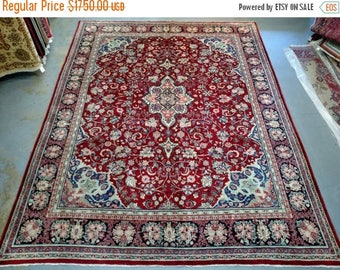SUMMER CLEARANCE 1950s Hand-Knotted, Room-Sized, Mahal Persian Rug (3528)