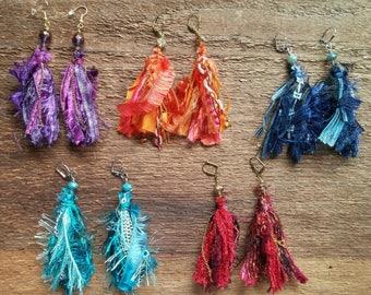 Tassel Earrings, Bohemian Earrings, Gypsy Earrings, Ribbon Earrings, Fringe Earrings, Boho Earrings, Bohemian Jewelry