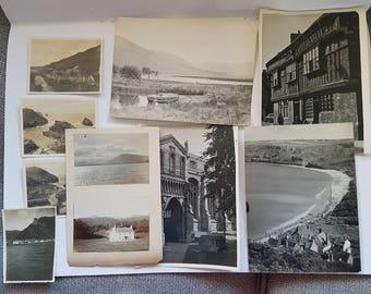 Vintage Photo Pack of UK 10 photos (J), UK United Kingdom scenery, ephemera junk journals scrapbooks smashbook, sepia, black and white