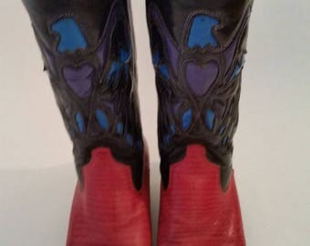 Vintage Cowboy Boots by Nine West Faux Croc Red and Black Leather Turquoise Eagle Design Navarre Model Made in Brazil Size 6 M 1980s