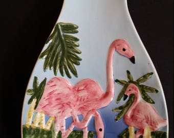 "Vintage Spoon Rest 1970's State of Florida Souvenir Silver Springs Florida Spoon Rest Ceramic Flamingo Tropical Home Decor 9""  x  4"""