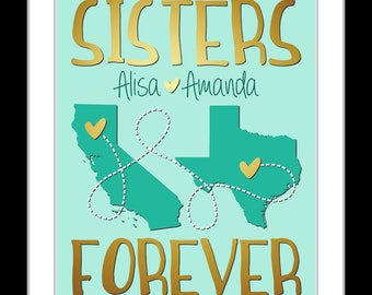 Long distance sister present christmas present for daughters birthday gift for sister custom going away gift personalized map sister quote
