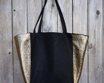 Gilded Shearling and Black Leather Luxe Tote