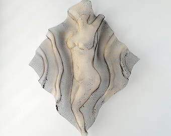 Metal wall sculpture, Nude woman sculpture, wire mesh sculpture, home decor, metal art,  sexy woman torso
