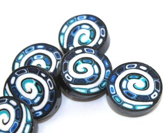 Multi layered spiral coin beads in blues black and white, millefiori special spiral beads, set of 10 polymer clay beads, round flat beads