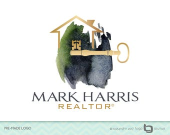 Premade Realtor Logo, Realtor Logo, Real Estate Logo, House Logo, Real Estate Agent Logo, Key Logo, Agent Logo, Real Estate Watercolor Logo
