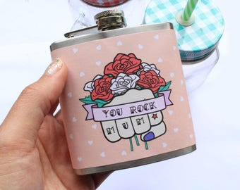 Mum Hip Flask Rockabilly Flowers Day Of The Dead