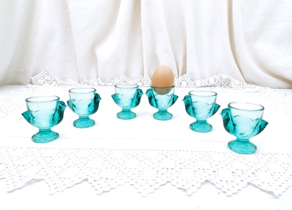 Pair Vintage Matching Green Glass French Verrie D'Arques Chicken Egg Cups, Retro Breakfast Accessory from France, Brocante Decor