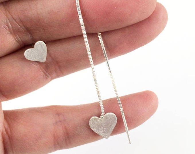 Asymmetrical sterling silver earrings - Heart earrings - Simple earrings - minimalist jewelry - stud and drop heart earrings - gift for her
