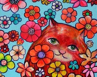 "Original Painting Cat ""Super Bloom"" acrylic on canvas"