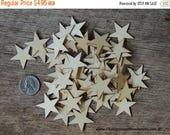 Summer SALE 50 Small 1.25 inch Mini Wood Stars, Wood Confetti Hearts- Rustic Wedding Decor- Flag Making 1-1/4 Wooden Stars-  DIY Craft Suppl