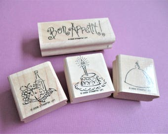 Culinary Theme Papercraft Rubber Stamps Bon Appetit Stamp 4 Related Stamps Carved Wood Mount Destash Craft Supplies Scrapbooking Card Making