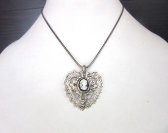 Cameo Heart Pendant Necklace SP Snake Chain 17 Inches