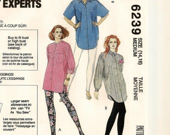 "An Oversized, Long or Short Sleeve Shirt and Pull-On Leggings Pattern for Women: Uncut - Size Medium (14-16), Bust 36"" - 38"" ~ McCall's 6239"
