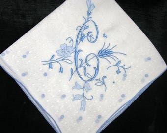Monogrammed Handkerchief Wedding, Initial A, M, B, H, P or C Hankerchief, Letter Blue, Monogram Something Old Wedding