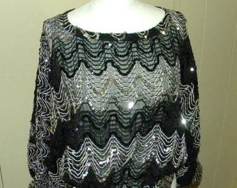 Xmas in July Sale Vintage Dressy Occasion Sheer and Sequined Blouse, Chevron Pattern, Black and Silver, Raglan Sleeves, Elastic Waist