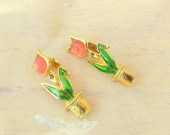 Summer Sale Tulip Pot Dangly Clip On Earrings, Gold Tone Metal, Pink and Green Enamel, Vintage Items