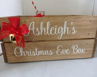 Christmas Eve box, personalised Christmas eve crate, Personalised Christmas eve box, wooden crate, Christmas eve, Christmas box, handpainted