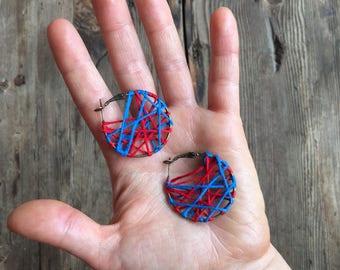 Red and Blue Webbed Hoop Earrings
