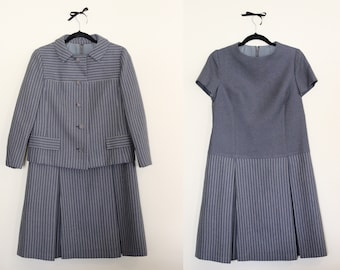 Wear it 3 Ways! Dress / Jacket / Both |||  Suit Up! In this Madly Mod Dress Suit! Striped Jacket & Dress ||| 1960s ||| Size Large