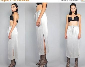 40OFF Vtg 90s Silver Metallic Futuristic Hi Cut Slit Glam Midi Skirt Gown M