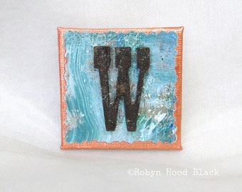 Rustic Letter W and Painted Verdigris Magnet 2 X 2