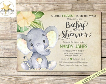 Captivating Elephant Baby Shower Invitation, Gender Neutral Shower Invitation, Digital  File, PRINTABLE _1302