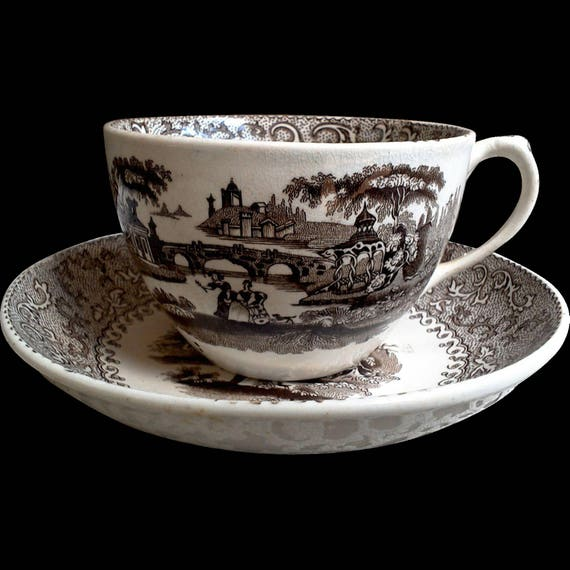 Antique Coffee Tea Cup and Saucer or Tea Cup and Saucer, AURORA Beech and Hancock, Staffordshire, Brown Transferware, Serving, 1800s