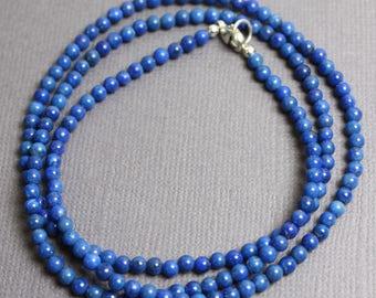 Lapis Necklace , Lapis Lazuli Necklace, Blue Gemstone Necklace, Lapis Jewelry, Blue Lapis Necklace, Blue Lapis Necklace, 3MM Lapis Necklace