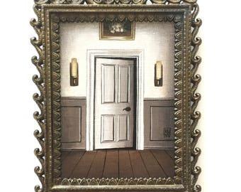 "Framed acrylic painting, ""The East Wing Nursery"" creepy art, pop surrealism, dark art, Victorian inspired"
